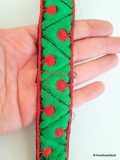 This listing is for a lovely Black Fabric Trim With Green And Red Thread Embroidery, Cotton Trim,. This is a very unique fabric trim and a special KnicKnackNook find which you will not find anywhere else.  Width: 30mm This listing is for 1 yard.  The fabric trim is perfect for making bracelets, belts, choker necklace, or whatever you can imagine, they will look just perfect with this trim.  Great for embellishing bags, clutches, jeans, dresses, table topper, scrap-booking and many other…