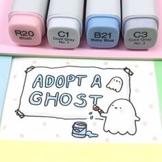 Spooky painted some posters to make sure all his siblings and cousins find a loving home! If you would like to be haunted by a little ghost, you can adopt one on shopkirakira.com Link in bio! ✨ • • #kawaii #spookymccute #adoptaghost #spooky #ghost #doodle #coloring #copicmarkers #かわいい #可愛い
