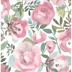 Orla Floral Wallpaper in Pink from the Bluebell Collection by Brewster Home Fashions