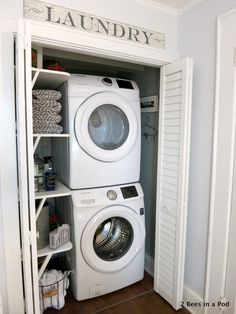 Laundry Closet Makeover Reveal - 2 Bees in a Pod Look at how a small closets has huge impact as a laundry area! Washer, dryer and shelving create the perfect space.