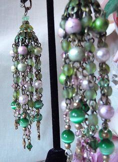 Green & Pink Vintage Beads Cats Eye Swarovski by MockiDesigns, $86.00