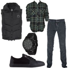 men's fashion by talentedtei on Polyvore featuring SNOWMASS, Dsquared2, Billabong, Vans, Marc by Marc Jacobs, vests, jeans and men