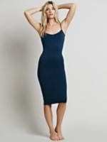 Tea Length Seamless Slip | Stretchy, seamless mid-length slip dress. Body-conscious fit throughout. Adjustable shoulder straps. Sexy, simple and great for layering!