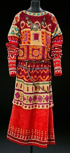 Costume designed by Nicholas Roerich for the 1913 ballet 'The Rite of Spring'