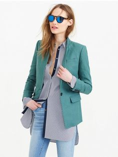 J.Crew Regent Blazer in Linen in Autumn Bluegrass // Blue-Green blazer
