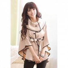 $11.70 Stylish Turtleneck 3/4 Sleeves Irregular Hem Lace-Up Loose Fit Cotton Blend Cloak For Women