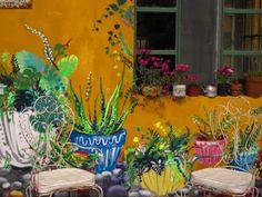 Casa particular en Benavidez . Mural Painting, Mural Art, House Painting, Wall Murals, Wall Art, Fence Painting, Backyard Creations, Fence Art, Bohemian House