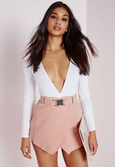 Gold Buckle Detail Skort Nude - Shorts - Missguided