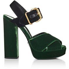 Prada Women's Colorblocked Velvet Platform Sandals ($850) ❤ liked on Polyvore featuring shoes, sandals, high heels sandals, slingback sandals, strappy block heel sandals, strappy sandals and platform sandals