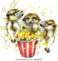 Funny meerkat and popcorn T-shirt graphics, meerkat illustration with splash watercolor textured background. illustration watercolor meerkat fashion print, poster for textiles, fashion design
