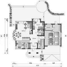 Rzut parteru projektu Herbert - murowana – beton komórkowy Design Case, Planer, Floor Plans, Architecture, House, House 2, American Houses, Home Plans, Arquitetura