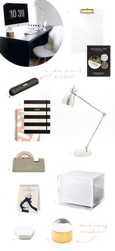 get your desk and office space organized for the new year with these 10 chic accessories | via coco+kelley