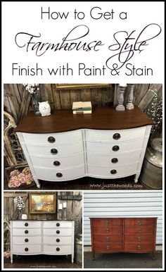Farmhouse White Painted Dresser farmhouse white painted furniture can be a challenge with the possibility of bleed through. See how to get white painted furniture like this painted drexel dresser with paint and stain – Mobilier de Salon White Painted Dressers, White Painted Furniture, Refurbished Furniture, Farmhouse Furniture, Repurposed Furniture, Rustic Furniture, Furniture Makeover, Cool Furniture, Furniture Design