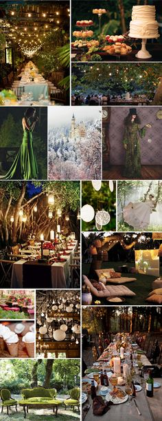 The lights above the tables plus the laterns with lights would look nice outside in the trees even in the woods on both sides of the building leading up the driveway we could place some kind of lights??-Steph