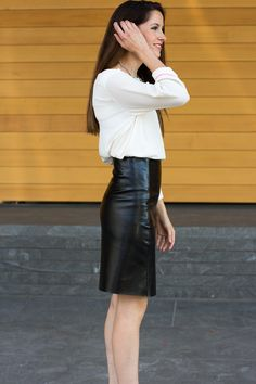 DIY leather A-line skirt ☀CQ  sew  sewing  crafts  how 03402b9de