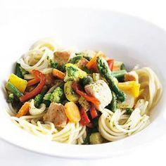 Recept - Gewokte zalm met groente en spaghetti - Allerhande