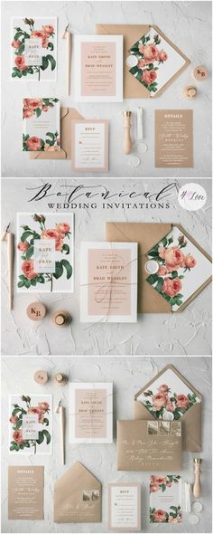 The Ethereal wedding invitation suite combines beautiful botanical printing with eco kraft papers and romantic calligraphy. Muted tones and soft colour palettes complete the design. Fully assembled wedding invitations from $4,80 #wedding #weddinginvitation