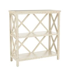 @Overstock - The Weymouth open bookcase comes in a buttery off-white finish that is lightly distressed. This wooden bookcase is perfect filled with books and collectibles in a sitting room or next to a bed.  http://www.overstock.com/Home-Garden/Weymouth-Distressed-Ivory-Bookcase/5571101/product.html?CID=214117 $160.98
