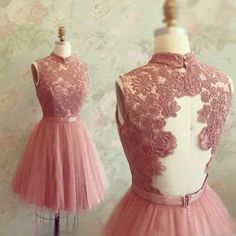 Gorgeous A-line High neck Pink Lace Appliques Short Tulle 2018 Homecoming Dresses Homecoming Dress Pink, Homecoming Dress, Prom Dress Cheap, Prom Dress A-Line, Appliques Prom Dress Prom Dresses 2020 Lace Homecoming Dresses, Tulle Prom Dress, Bridesmaid Dresses, Dress Lace, Party Dress, Lace Bodice, Gown Dress, Graduation Dresses, Bridesmaids