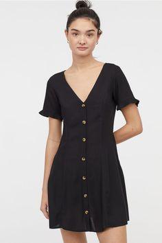 H & M - Vestido de punto con fruncido hm negro Viscosa