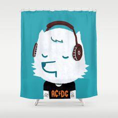 Metal Rock Dog Shower Curtain