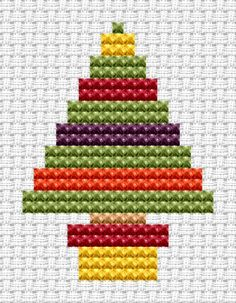 Easy Peasy Christmas Tree cross stitch kit from Fat Cat Cross Stitch. Ideal for beginners however please ensure young stitchers are supervised.  Finished size approx 9.7cm x 12.7cm. Kit contains 6ct Binca white aida fabric, stranded embroidery cotton, needle, colour chart and instructions. A brand new kit will be sent directly to you by Fat Cat Cross Stitch - usually within 2-4 working days © Fat Cat Cross Stitch