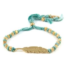 Turquoise Knotted Vintage Ribbon Adjustable Bracelet with Gold Feather Charm #beach #surfer #spring  #boho #ettika #jewelry #accessories