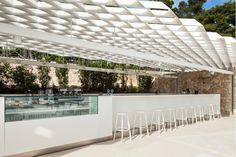 Hotel Architecture, Landscape Architecture, Landscape Design, Hotel Ibiza, Pool Lounge, Pool Bar, Ac Hotel, Sky Bar, Shade Structure