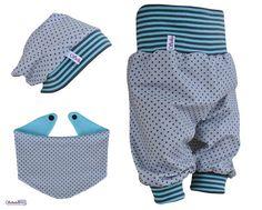 Sets - Babyset Pumphose Beanie Dreiecktuch Grau Blau - ein Designerstück von Schatulleria-Ohrt bei DaWanda