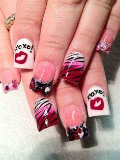 Valentine's Day acrylic nails
