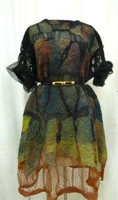 Elynn Bernstein  |  Black Nuno Felted Dress Felted Dresses
