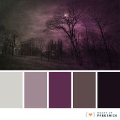Spooky Halloween-Inspired Hues Color Palette Heart of Frederick Purple Color Palettes, Colour Pallette, Colour Schemes, Color Combos, Purple Palette, Decoration Palette, Decoration Design, Hue Color, Colours