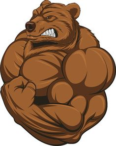 Strong bear vector art illustration