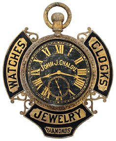 Elaborate watchmaker's trade sign, cast and sheet metal, probably zinc, one of the most elaborate and largest watchmaker's signs known.