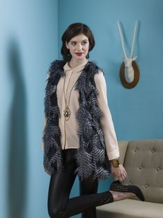 Luxe! Feather Faux Fur Vest- designed by Eliane Pinto, as seen in Stitch Gifts 2014 @Interweave - Features Fancy Feather Denim (faux fur) http://www.shannonfabrics.com/fancy-feather-denim-p-4335.html