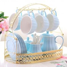 Solid Color Porcelain Tea Sets of 15 For Parties - Tea Set - Ideas of Tea Set - Style selection: Tea Pot Set, Tea Sets, Tea Room Decor, Statue Antique, Rose Tea, Kitchen Items, Vintage Tea, Cool Furniture, Coffee Shop