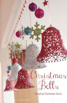 DIY Christmas Bells Decorations  (use string and glue over form and spray paint or maybe noodles)