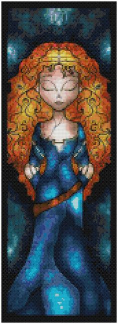 Cross stitch pattern Disney Merida Stained by XStitchAddict