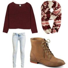 Maroon Crop Top Matched With Scarf For Winter