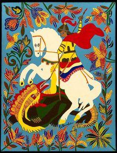 """""""Eu tenho sete espadas pra me defender Eu tenho Ogum em minha companhia Ogum é meu pai Ogum é meu guia"""" Viva o cavaleiro guerreiro de Aruanda! Ogunhê, meu Paizinho! Salve, Jorge! Jorge Da Capadocia, Orisha, Holy Mary, Arte Popular, Religious Art, Catholic Art, George & Dragon, Saint George And The Dragon, St Michael"""