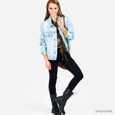 Check out Cameleon at DailyLook. I just love anything with Boyfriend's Denim Jacket. So me.