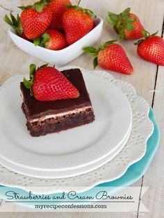 Brownie Recipe, Strawberries, Dessert Recipes These brownies are so soft and fudgy. With the strawberry cream frosting and the strawberry ganache on top, this recipe is pure heaven! The trick to a ...