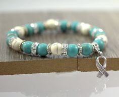 Hope Bracelet, Hope Ribbon Jewelry, Cancer Bracelet, Beaded Bracelet, Turquoise and White Bracelet