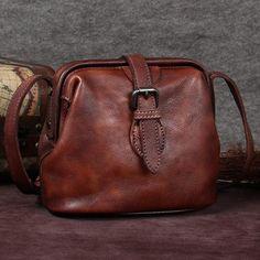 Genuine Leather Handmade Vintage Crossbody Shoulder Bags Purses Accessories  Gift Women Coffee Crossbody Shoulder Bag a0f373019f8fa
