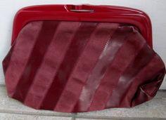 Vintage 1980s Italian Leather Striped Purse Bag Clutch by Flashbax, $12.00