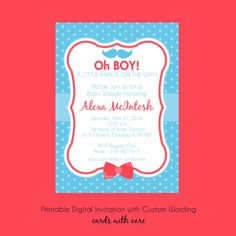 Mustache and Bow Ties Boy Baby Shower Invitation, Printable Invitation Design, Custom Wording, JPEG File by cardsbycarolyn on Etsy