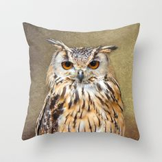 Indian Eagle Owl Throw Pillow by F Photography and Digital Art - $20.00