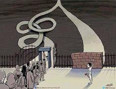 """Un disegno che ci spiega in modo rapido cosa significa vivere nella rotaia delle convinzioni, del """"si è sempre fatto così"""". Il muro a destra, se provassimo ad abbatterlo, scopriremmo che è di cartone..."""