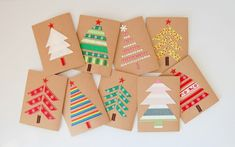 Easy DIY Holiday Crafts - Forest of Fabric - Click pic for 25 Handmade Christmas Cards Ideas. Use fabric, ribbon or washi tape. Christmas Card Crafts, Homemade Christmas Cards, Christmas Wrapping, Simple Christmas, Kids Christmas, Holiday Crafts, Christmas Trees, Christmas Fabric, Christmas Cards Handmade Kids
