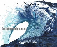 Wave Art Ocean Print Abstract Art Prints Living by CraftyCowDesign